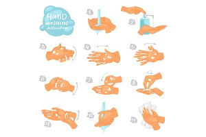 Wash hands vector instructions of