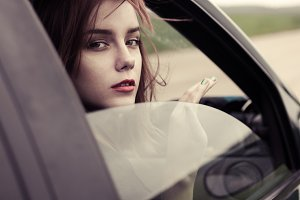 beautiful girl in the car