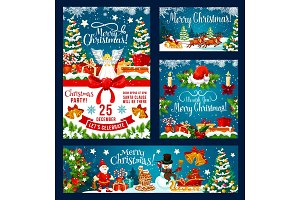 Christmas holiday vector posters set