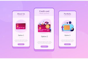 Credit card app interface template.