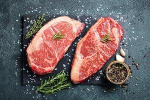 Fresh raw Prime Black Angus beef ste