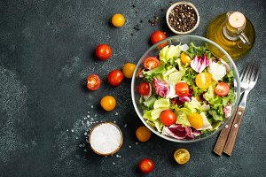 Healthy vegetable salad of fresh tom