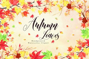 Fall Watercolor Leaves Collection