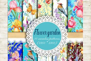 flower garden.seamless patterns