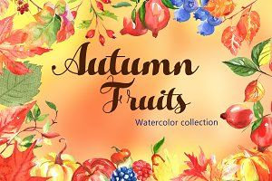 Autumn Watercolor Fruits & Leaves