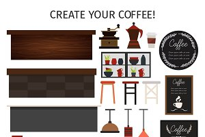 Flat Cafe Interior Elements Set