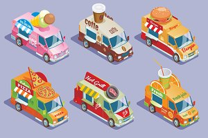 Isometric Food Trucks Collection