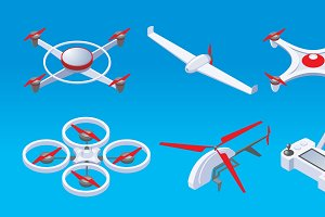 Isometric Modern Drones Set