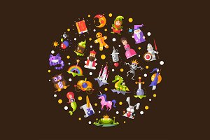 Fairy Tales Magic Icons Composition