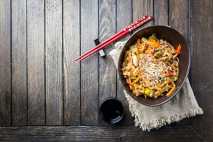 Plate of stir fry noodles