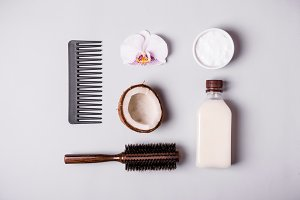 Coconut oil and and combs. Hair care