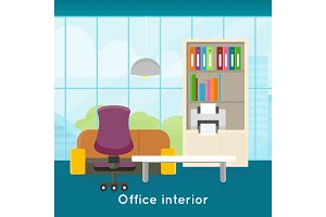 Office Interior Concept Vector In