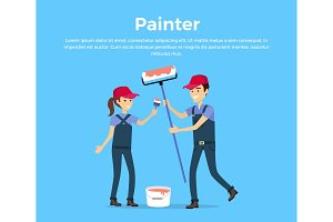Painter Concept Vector in Flat Style
