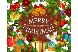 Greeting card for Merry Christmas
