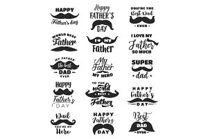 Father Day lettering, moustache
