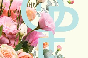 creative collage with floral bouquet