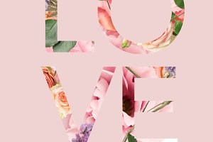 LOVE sign cut out of floral bouquet