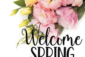 Top view of WELCOME SPRING lettering