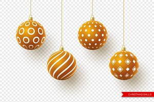 3d Christmas brown balls with
