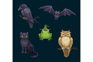 Halloween cat, bat and owl animals