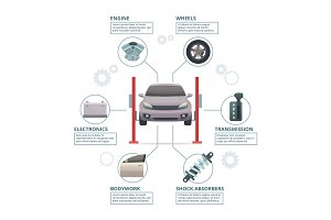Car repair infographic. Auto