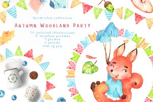 Autumn Woodland Party watercolor set