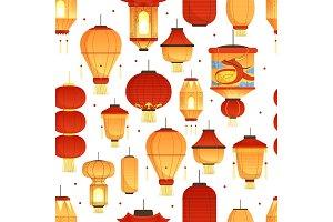China lanterns pattern. Asian