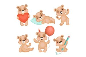 Cute bear pose. Cute animal teddy