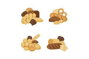 Vector cartoon bakery elements piles