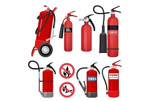 Red fire extinguishers. Firefighters