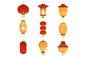 Asian cartoon lanterns. Chinese and