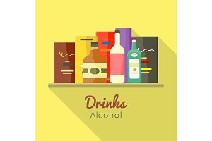 Drinks Alcohol Vector Concept in