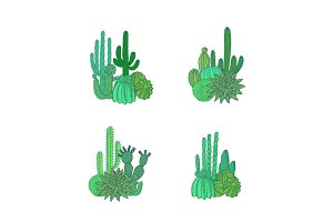 Vector hand drawn desert cacti