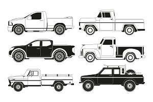 Pickup truck silhouettes. Black
