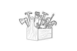 Vector hand drawn woodwork equipment