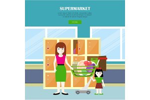 Supermarket Vector Web Banner in