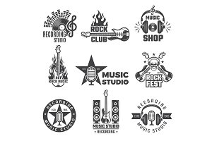 Black music labels. Vintage vinyl