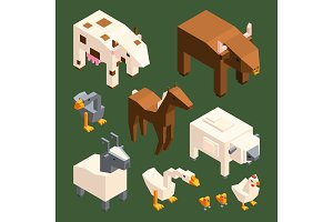 3D low poly animals. Vector
