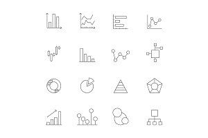 Icons of charts and diagrams. Mono