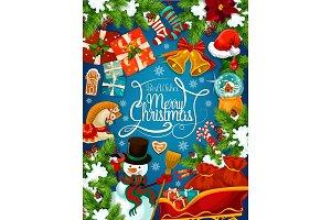 Christmas, Santa sleigh and gift