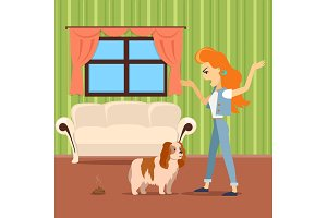 Dog training vector concept. Flat