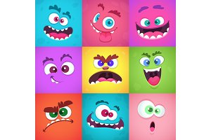 Monsters emotions. Scary faces masks