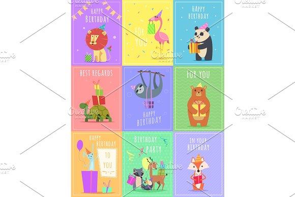 Birthday Cards With Animals Graphics Creative Market