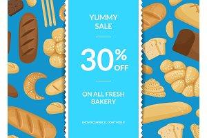 Vector cartoon bakery elements sale