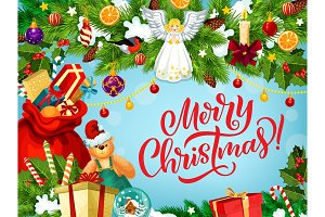 Merry Christmas gifts and angel
