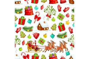 Christmas holiday seamless pattern