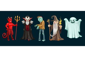 Halloween ghost, vampire and zombie