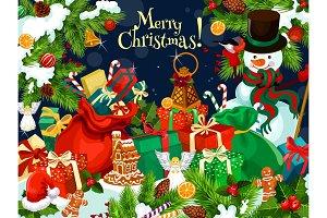Christmas gift and snowman greetings