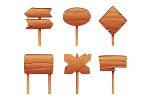 Illustrations of wooden signboards