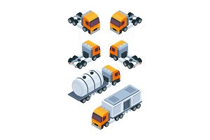 Trucks isometric. Pictures of